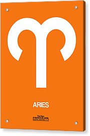Aries Zodiac Sign White On Orange Acrylic Print