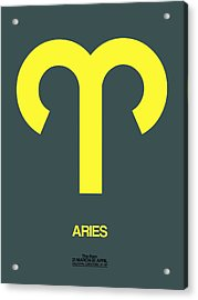 Aries Zodiac Sign Yellow Acrylic Print