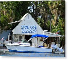 Aripeka Stone Crab Sales I Acrylic Print by Buzz  Coe