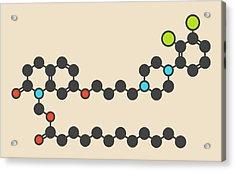 Aripiprazole Lauroxil Drug Molecule Acrylic Print by Molekuul