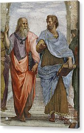 Aristotle And Plato Detail Of School Of Athens Acrylic Print by Raffaello Sanzio of Urbino