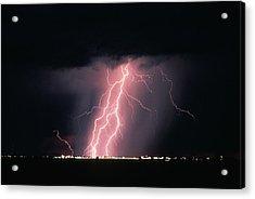 Arizona  Lightning Over City Lights Acrylic Print by Anonymous