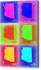 Arizona Pop Art Map 2 Acrylic Print by Naxart Studio