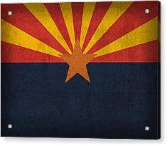 Arizona State Flag Art On Worn Canvas Acrylic Print by Design Turnpike