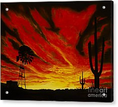 Acrylic Print featuring the painting Arizona Sunset by Stuart Engel