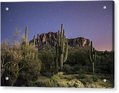 Arizona Superstition Mountains Night Acrylic Print by Michael J Bauer