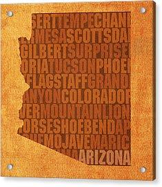 Arizona Word Art State Map On Canvas Acrylic Print