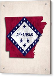 Arkansas Map Art With Flag Design Acrylic Print by World Art Prints And Designs