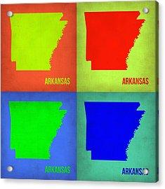 Arkansas Pop Art Map 1 Acrylic Print by Naxart Studio