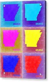Arkansas Pop Art Map 2 Acrylic Print by Naxart Studio