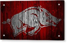 Arkansas Razorbacks Barn Door Acrylic Print by Dan Sproul