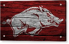 Arkansas Razorbacks On Wood Acrylic Print