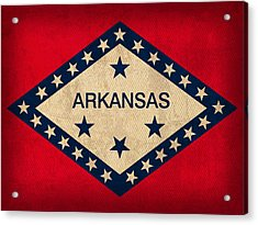 Arkansas State Flag Art On Worn Canvas Acrylic Print by Design Turnpike