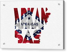 Arkansas Typographic Map Flag Acrylic Print by Ayse Deniz