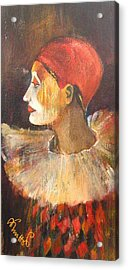 Arlequin In A Red Hat Acrylic Print by Alicja Coe
