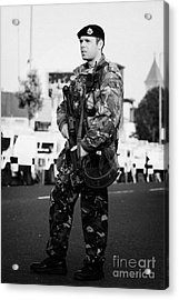Armed British Soldier On Crumlin Road At Ardoyne Shops Belfast 12th July Acrylic Print by Joe Fox