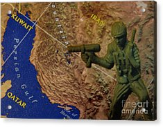 Armed Toy Solider With Middle East Map Acrylic Print by Amy Cicconi