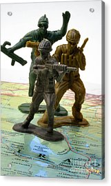 Armed Toy Soliders On Iraq Map Acrylic Print by Amy Cicconi