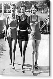 Army Bathing Suit Trio Acrylic Print by Underwood Archives