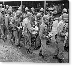 Army Chow Line Acrylic Print by Underwood Archives