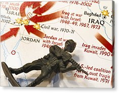 Army Man Lying On Middle East Conflicts Map Acrylic Print by Amy Cicconi