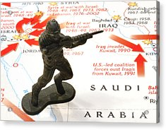Army Man Standing On Middle East Conflicts Map Acrylic Print by Amy Cicconi