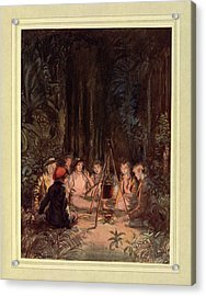 Around A Fire Acrylic Print by British Library