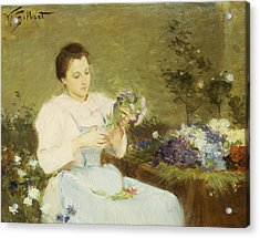 Arranging Flowers For A Spring Bouquet Acrylic Print by Victor Gabriel Gilbert