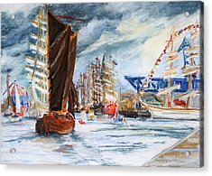 Arrival At The Hanse Sail Rostock Acrylic Print by Barbara Pommerenke