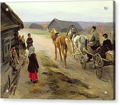 Arrival Of A School-mistress In The Country, C.1908-14 Oil On Canvas Acrylic Print by Alexei Steipanovitch Stepanov