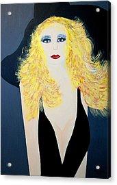 Art Deco Girl With Black Hat Acrylic Print