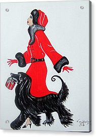 Acrylic Print featuring the painting Art Deco  Girl With Red  Coat by Nora Shepley