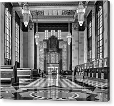 Art Deco Great Hall #1 - Bw Acrylic Print by Nikolyn McDonald