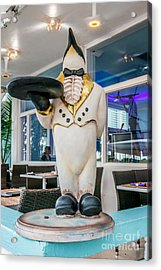 Art Deco Penguin Waiter South Beach Miami Acrylic Print by Ian Monk