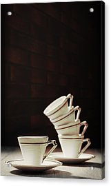 Art Deco Teacups Acrylic Print by Amanda Elwell