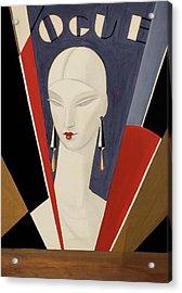 Art Deco Vogue Cover Of A Woman's Head Acrylic Print by Eduardo Garcia Benito