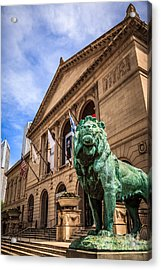 Art Institute Of Chicago Lion Statue Acrylic Print by Paul Velgos