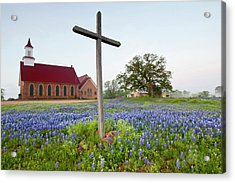 Art Methodist Church And Bluebonnets Acrylic Print by Larry Ditto