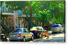 Art Of Montreal Day With Daddy And Yellow Wagon Zooming Our Streets Of Verdun Scene Carole Spandau  Acrylic Print by Carole Spandau