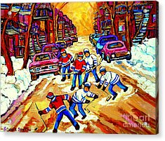 Art Of Montreal Hockey Street Scene After School Winter Game Painting By Carole Spandau Acrylic Print by Carole Spandau