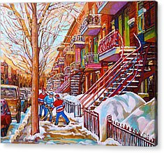 Art Of Montreal Staircases In Winter Street Hockey Game City Streetscenes By Carole Spandau Acrylic Print