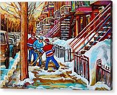 Art Of Verdun Staircases Montreal Street Hockey Game City Scenes By Carole Spandau Acrylic Print by Carole Spandau