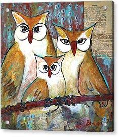 Art Owl Family Portrait Acrylic Print by Blenda Studio
