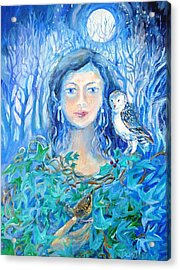 Artemis And The Wren- Acrylic Print by Trudi Doyle