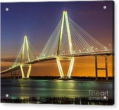 Arthur Ravenel Bridge Twilight Acrylic Print by Anthony Heflin