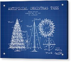 Artifical Christmas Tree Patent From 1927 - Blueprint Acrylic Print