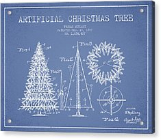 Artifical Christmas Tree Patent From 1927 - Light Blue Acrylic Print