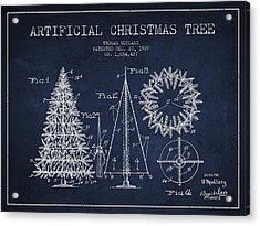Artifical Christmas Tree Patent From 1927 - Navy Blue Acrylic Print