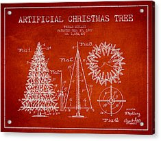 Artifical Christmas Tree Patent From 1927 - Red Acrylic Print