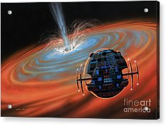Artificial Planet Orbiting A Black Hole Acrylic Print